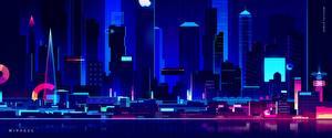 壁纸、、建物、超高層建築物、レトロウェイヴ、夜、by Romain Trystram, Mirages、