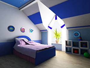Wallpapers Interior Children's room Design Bed 3D Graphics