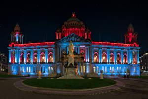 壁纸、、アイルランド、建物、モニュメント、夜、Belfast City Hall、