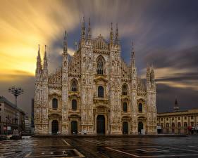 壁纸、、イタリア、寺院、教会堂、夕、広場、街灯、Milan Cathedral、