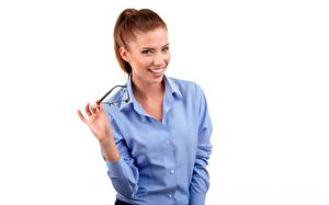 Images White background Eyeglasses Formal shirt Redhead girl Izabela Magier Girls