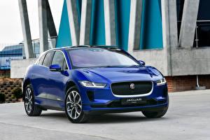 Hintergrundbilder Jaguar Blau Metallisch 2019 I-Pace EV400 AWD HSE