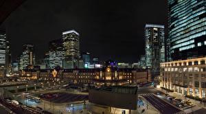 Фотография Япония Токио Дома Улица Ночь Города