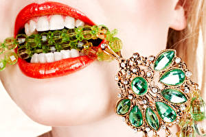Pictures Jewelry Stones Red lips Teeth