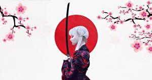 Hintergrundbilder Katana Japanischer Säbel Kimono Blond Mädchen by Abrar Khan junge frau
