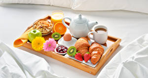 Images Kettle Coffee Juice Croissant Gerberas Muesli Fruit Strawberry Apples Breakfast Cup Highball glass Egg Tray Food