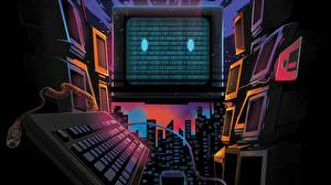 Hintergrundbilder Tastatur Retrowave Computers
