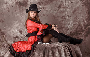 壁纸,,Kleofia model,棕色的女人,帽子,坐,连衣裙,凝视,女孩,