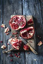 Wallpaper Knife Pomegranate Wood planks Cutting board Grain Food