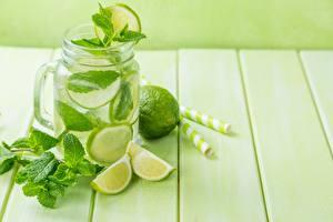 Hintergrundbilder Limette Limonade Bretter Weckglas Minzen Blatt