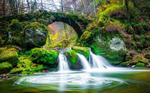 Photo Luxembourg Rivers Waterfalls Bridges Stones Autumn Moss Mullerthal Region Nature
