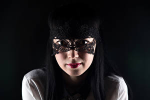 Wallpaper Masks Black background Brunette girl Glance Face Girls