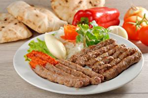 Bilder Fleischwaren Gemüse Teller Lebensmittel