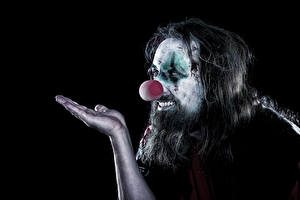 Pictures Men Black background Clown Hands Makeup Beard