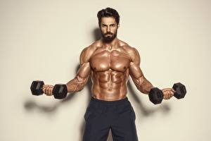 Picture Men Bodybuilding Dumbbells Muscle Belly Beard Sport
