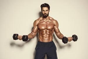 Bureaubladachtergronden Mannen Bodybuilding Dumbbell Spieren Buik Bebaarde Sport