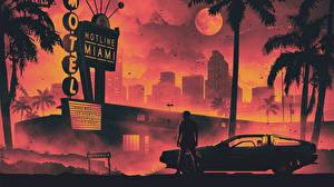 Images Man DeLorean Retrowave Hotel Palm trees Moon DMC-12 Hotline Miami Cities Cars
