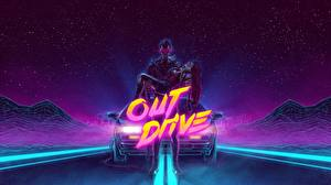 Picture Man DeLorean Synthwave out drive DMC-12 young woman Cars