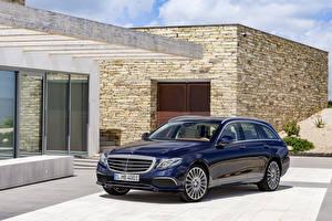 Hintergrundbilder Mercedes-Benz Blau Metallisch 2016 E 200 d Exclusive Line Estate Autos