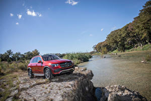 Wallpaper Mercedes-Benz Red Sport utility vehicle 2020 GLE 450 4MATIC Cars