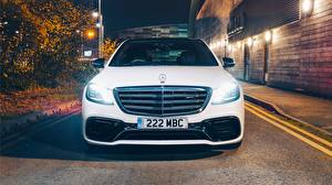 Pictures Mercedes-Benz Front White AMG S 63 4MATIC 2017 Cars