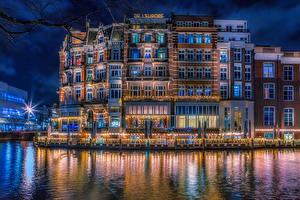 壁纸、、オランダ、アムステルダム、建物、運河、夜、