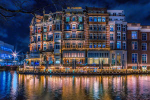 Photo Netherlands Amsterdam Building Canal Night Cities
