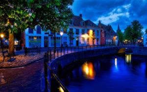 壁纸、、オランダ、建物、運河、塀、夜、街灯、Amersfoort canals、