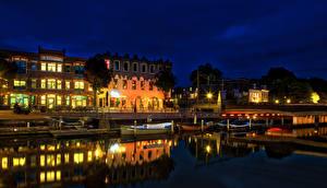 壁纸、、オランダ、住宅、桟橋、ボート、運河、夜、街灯、Amersfoort canals、
