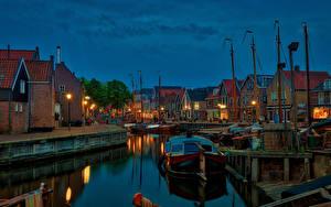 壁纸、、オランダ、建物、桟橋、モーターボート、夕、運河、街灯、Spakenburg、