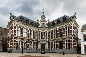壁纸、、オランダ、建物、街灯、Utrecht University、都市