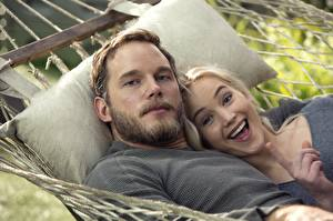 Wallpaper Passengers 2016 Men Jennifer Lawrence Chris Pratt 2 Smile Beard Movies Celebrities Girls