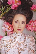 Fonds d'écran Pivoine Asiatique Aux cheveux bruns Voir Belles Filles