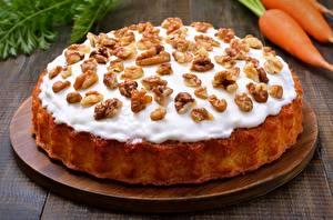 Фото Пирог Вблизи Орехи Сахарная глазурь Грецкий орех Продукты питания
