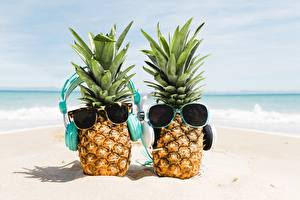 Pictures Pineapples Glasses Two Headphones Sand