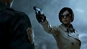 Hintergrundbilder Pistolen Ada Wong Resident Evil 2 2019 Brille Brünette Spiele
