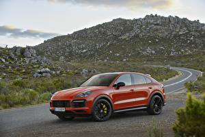 Picture Porsche Red Metallic Coupe CUV Cayenne automobile