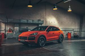 Wallpapers Porsche Orange Coupe Cayenne Turbo Cars