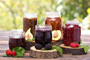 Hintergrundbilder Marmelade Erdbeeren Brombeeren Himbeeren Weckglas Lebensmittel