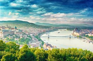 Tapety na pulpit Rzeka Mosty Węgry Budapeszt dunai Miasta