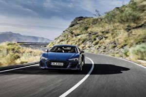 Sfondi desktop Strade Audi Vista frontale Blu colori Movimento R8 V10 quattro performance Auto