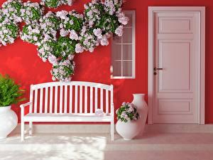 Hintergrundbilder Rosen Bank (Möbel) Tür Blumen