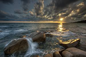 Picture Sea Stones Evening Clouds Nature