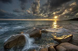 Fotos Meer Steine Abend Wolke