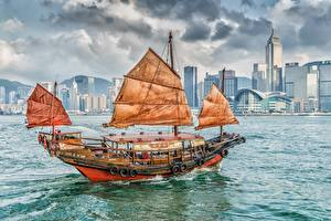 Hintergrundbilder Schiffe Segeln Hongkong China Kowloon Victoria Harbor