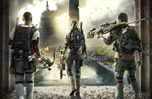 Wallpaper Sniper rifle Soldiers Tom Clancy Back view Snipers The Division 2 Games