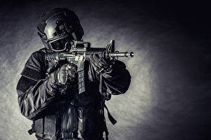 Wallpapers Soldiers Assault rifle Military war helmet Uniform Glasses Army