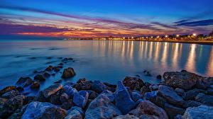 Wallpaper Spain Coast Stones Evening Sea Bay Torre del Mar Malaga province Nature
