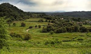 Hintergrundbilder Spanien Grünland Wälder Haus Gras Granera Catalonia