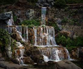 Image Spain Waterfalls Stones Cliff Las Palmas Gran Canaria Nature